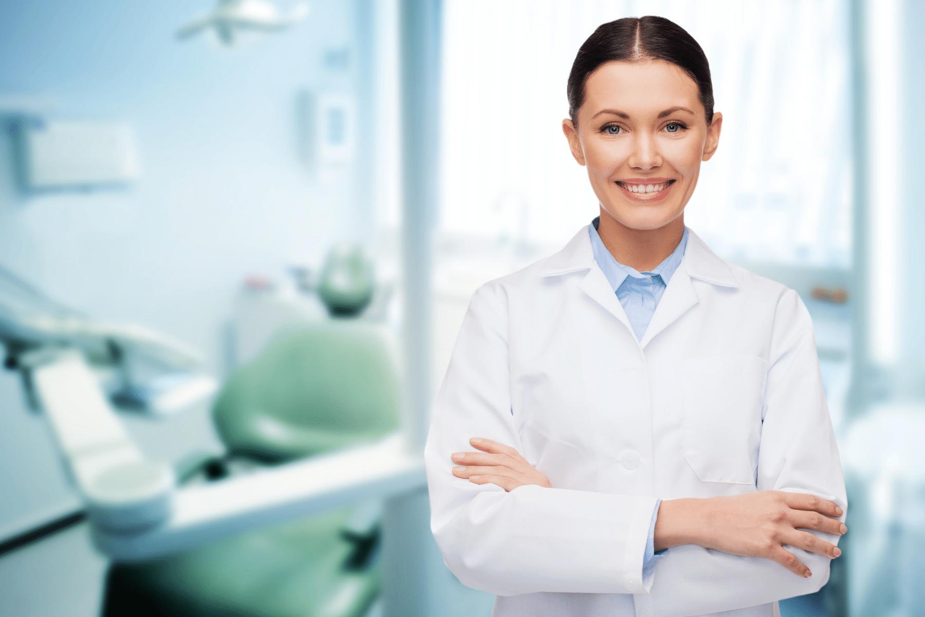 dentist in white coat