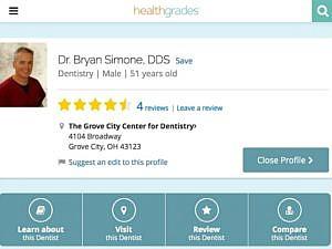 Screenshot of a dentist's Healthgrades profile
