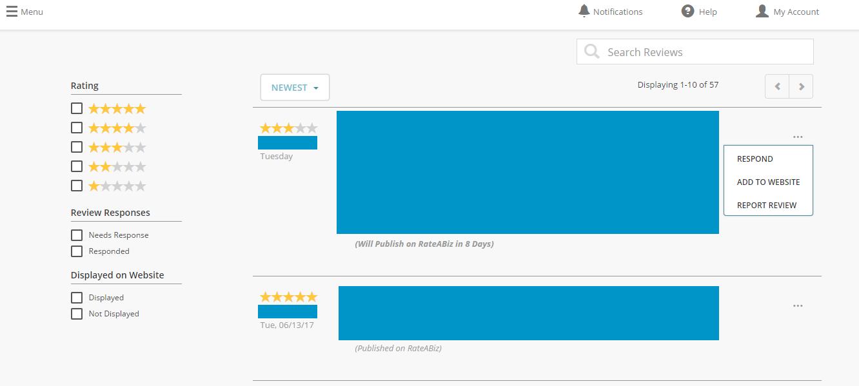 Reviews dashboard