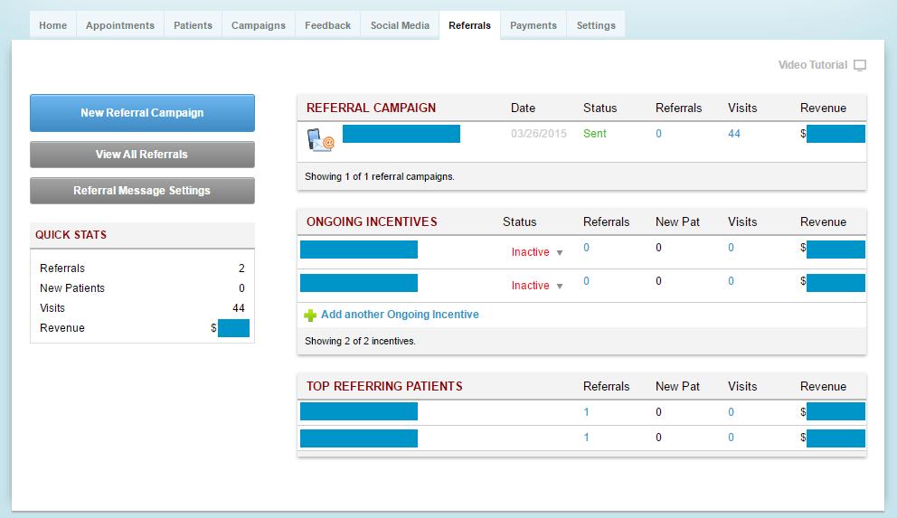 Referral Campaigns dashboard