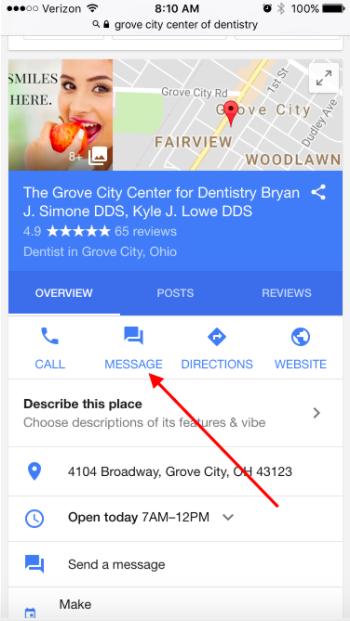 Google My Business Messaging Feature