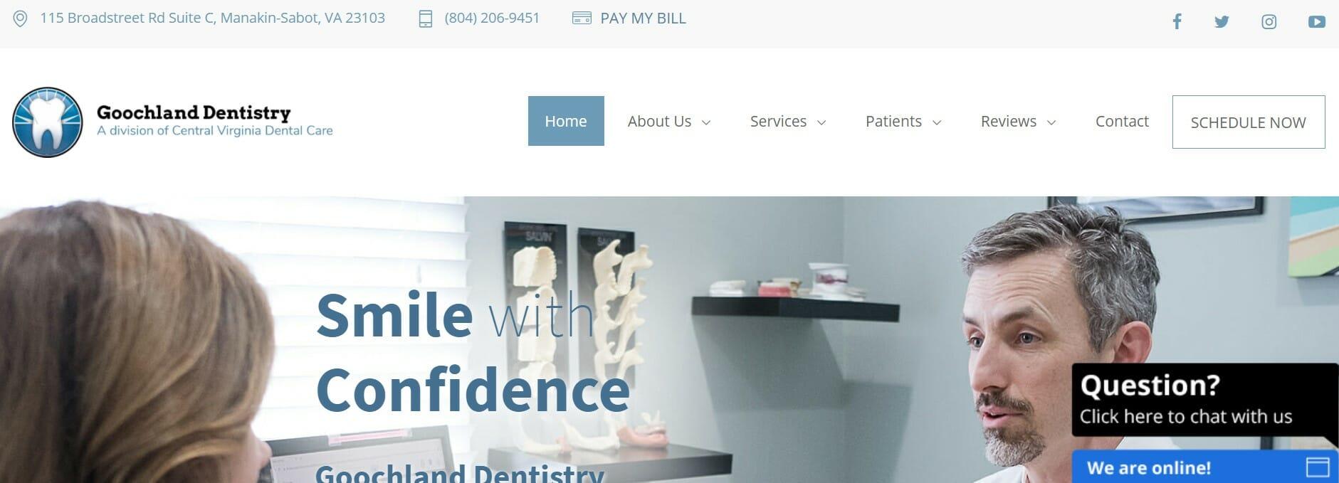 Live Website Chat on Goochland Dentistry's website