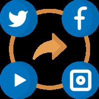 social media icons surrounding a circle